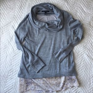 WHBM Gray Cowlneck Lightweight Sweater